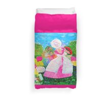 Gretchen in the Garden Pink by Marie-Jose Pappas Duvet Cover