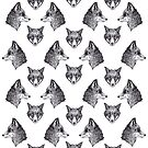 Fox Face Hand Drawn Pattern Illustration by ankastan