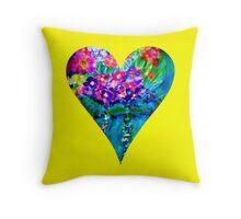 Yellow Floral Heart Designer Art Gifts Throw Pillow