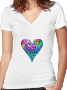 Red Floral Heart Designer Art Gifts Women's Fitted V-Neck T-Shirt