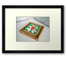 Chocolate Geometry - Orange Crisp and Noisette Triangles Framed Print