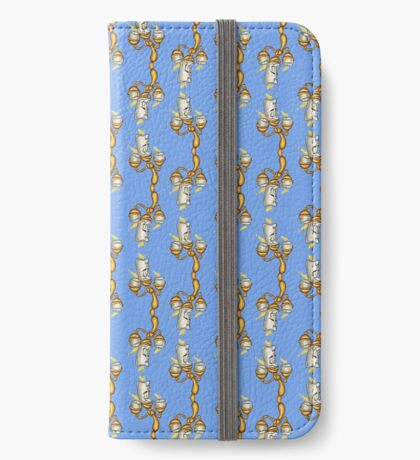 Disney Lumiere, Beauty and the Beast pattern iPhone Wallet/Case/Skin