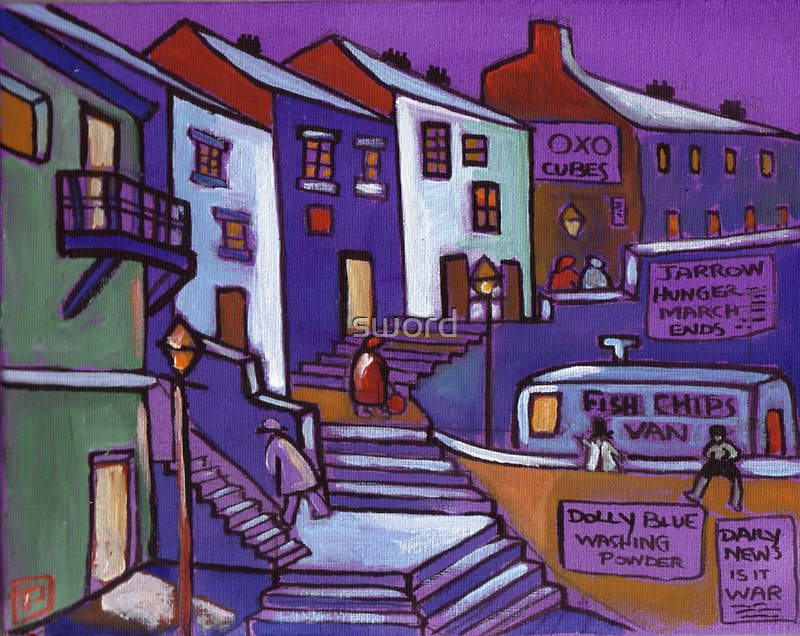 Seaside village (from my original painting) by sword