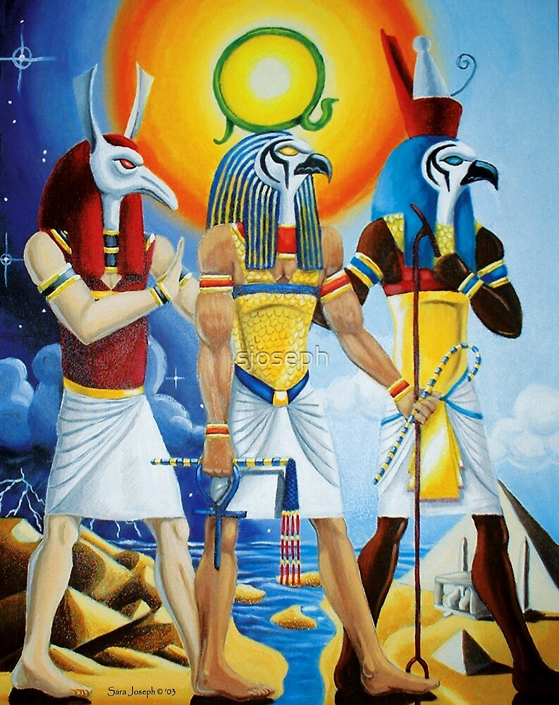 Egyptian Ra, Horus and Set by sjoseph