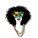Mardi Gras Mask and Beads | Afro Hair Woman by Cherie Balowski