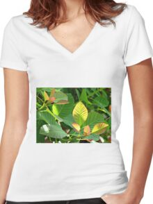 Backlit Leaves - Hyde Hall Women's Fitted V-Neck T-Shirt