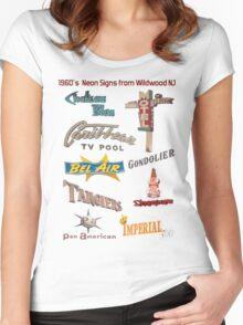 Retro Neon Motel Signs of Wildwood New Jersey 1960's Doo Wop Neon  Women's Fitted Scoop T-Shirt