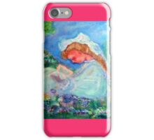 Little Girl Reading in the Garden Decor & Gifts Pink iPhone Case/Skin
