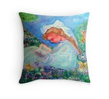 Little Girl Reading in the Garden Decor & Gifts Pink Throw Pillow