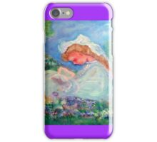 Little Girl Reading in the Garden Decor & Gifts - Purple iPhone Case/Skin