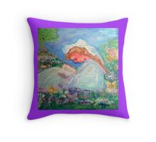 Little Girl Reading in the Garden Decor & Gifts - Purple Throw Pillow