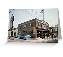 Degnan Chevrolet Auto Dealership Exterior 1950's Greeting Card
