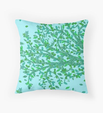 Green and Blue Floral Tree Throw Pillow