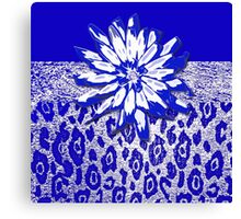 Animal Print Blue and White Canvas Print