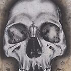 Realism Charcoal Drawing of Human Skull by brittnideweese