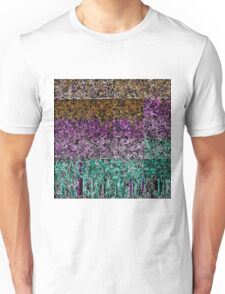 psychedelic geometric drawing abstract in purple pink brown green and black Unisex T-Shirt