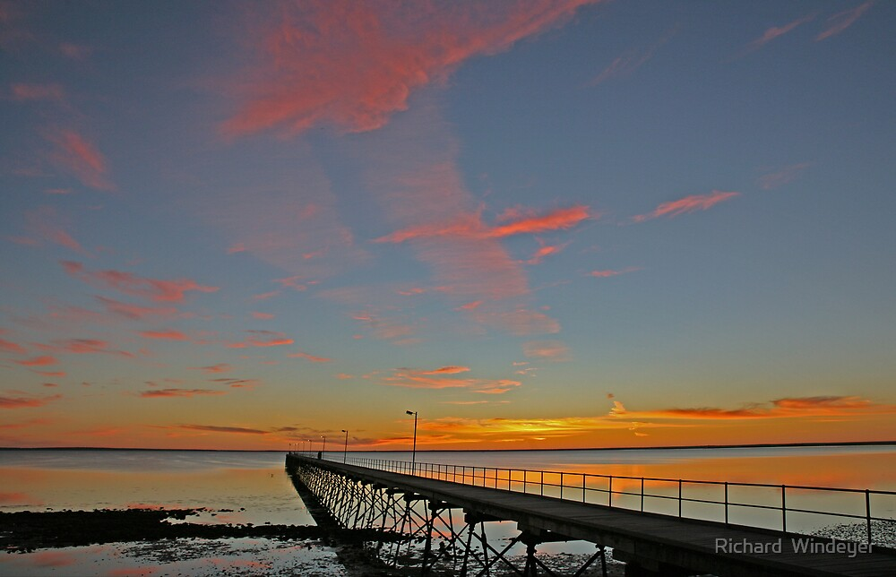 Ceduna Pier at Sunset by Richard  Windeyer