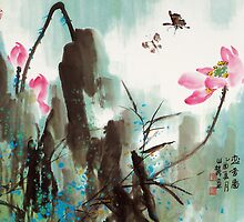 Butterfly and Lotus by aplcollections