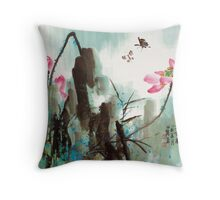 Butterfly and Lotus Throw Pillow