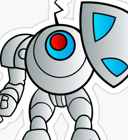 robot with a shield Sticker