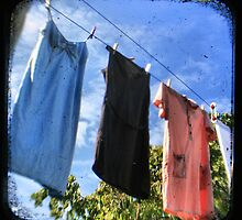 Thrifted Linen - on the clothesline - Fine Art Viewfinder Photograph by HighlandGhillie