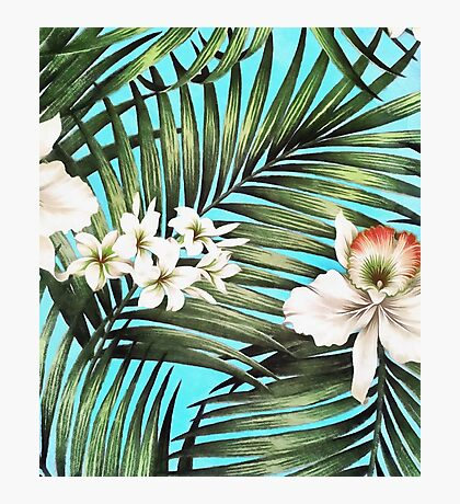 Palm leaves and flowers Photographic Print