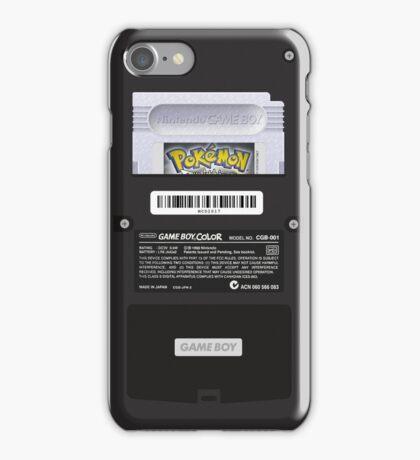 Black Gameboy Color - Back Side - Pokemon Silver iPhone Case/Skin