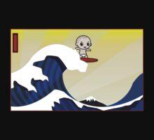 Surfing hokusai's famous wave Kids Tee