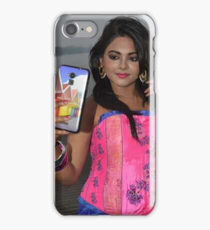 Sexy Woman Taking Selfie On Mobile in Pink Top iPhone Case/Skin