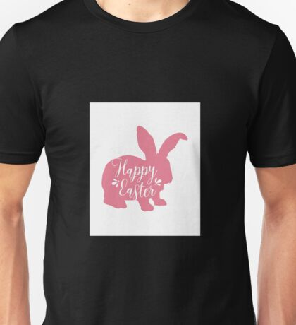 Happy Easter - Pink Easter Bunny Design Unisex T-Shirt