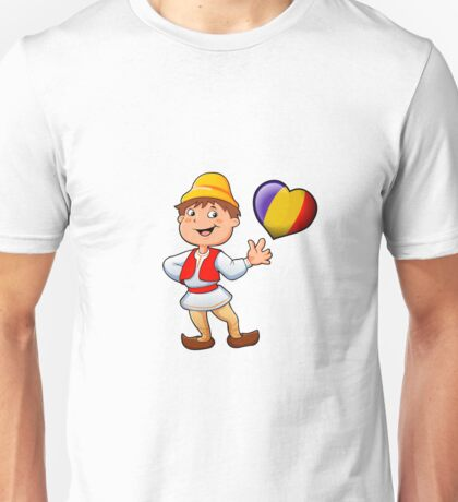 Romanian in typical  clothing  and the heart Unisex T-Shirt