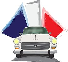 Illustration of a White Peugeot 404 with the French Flag Behind by ibadishi