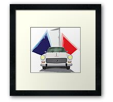 Illustration of a White Peugeot 404 with the French Flag Behind Framed Print