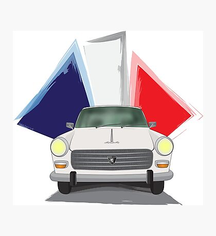 Illustration of a White Peugeot 404 with the French Flag Behind Photographic Print