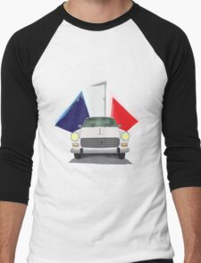 Illustration of a White Peugeot 404 with the French Flag Behind Men's Baseball ¾ T-Shirt