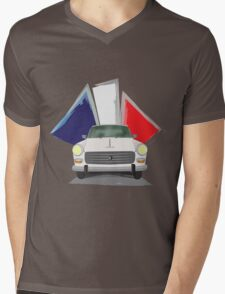 Illustration of a White Peugeot 404 with the French Flag Behind Mens V-Neck T-Shirt