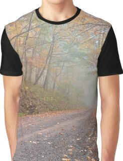 Misty Autumn Forest Road Graphic T-Shirt