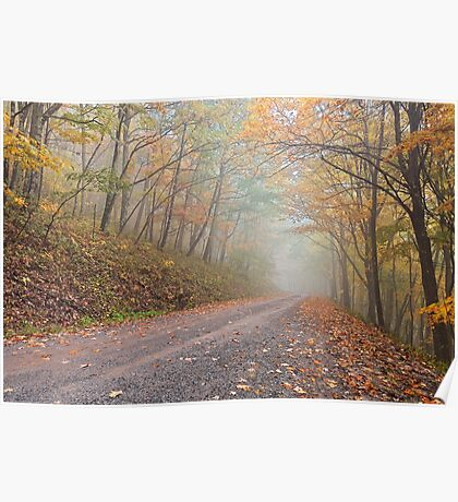 Misty Autumn Forest Road Poster