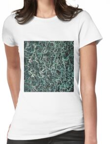 psychedelic geometric camouflage painting abstract in green white and black Womens Fitted T-Shirt