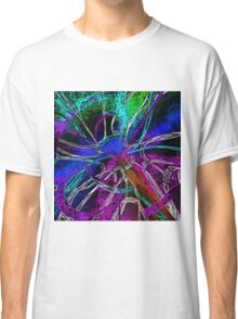 psychedelic geometric splash painting abstract in pink purple blue green brown and black Classic T-Shirt