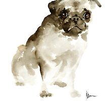 Pug dog painting watercolor art print, dog large poster by Joanna Szmerdt