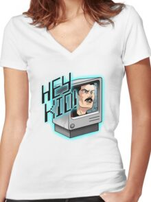 HEY KID! I'M A COMPUTER! Women's Fitted V-Neck T-Shirt