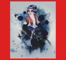 Abstract background with gothic girl 3 Kids Tee