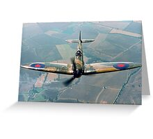 BBMF Spitfire IIa P7350 over South Lincolnshire Greeting Card