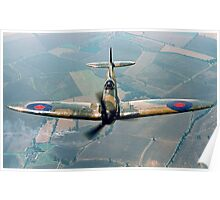 BBMF Spitfire IIa P7350 over South Lincolnshire Poster