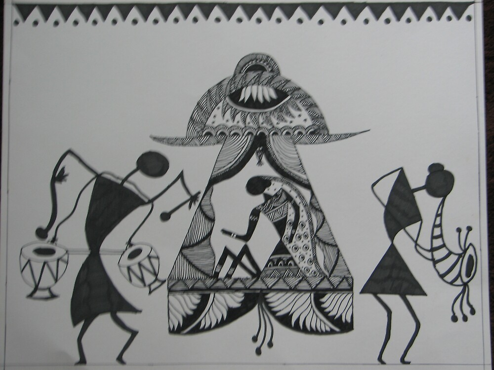 Quot The Bride Warli Folk Art Tribal Painting From India Quot By