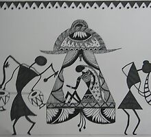 The Bride-Warli-Folk art-Tribal Painting from India by ampar81