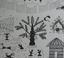 Monsoon-Warli-Folk Art-Tribal painting from India by ampar81