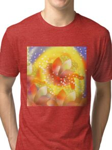 Christmas Flower Bloom in Snow Tri-blend T-Shirt