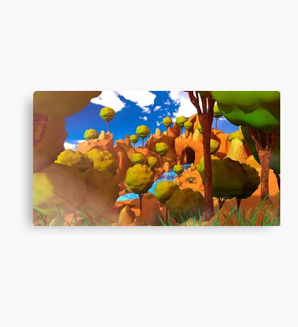 Low Poly Cartoon Forest Canvas Print